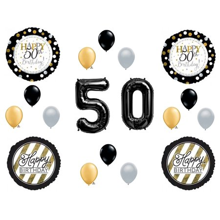 50th Fifty Happy Birthday Party Balloons Decoration Supplies Over The Hill Black Balloon Decorations By Anagram