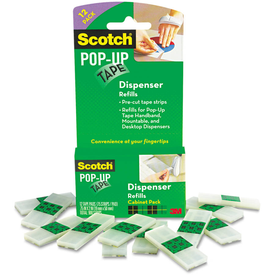 "Scotch Pop-Up Magic 3/4"" Tape Strip Refill, Value Pack, 2"" Core, Clear, 75/Pad 12/Pack"