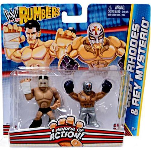 WWE Wrestling Rumblers Series 2 Cody Rhodes & Rey Mysterio Mini Figure 2-Pack (Buy Rey Mysterio Mask)