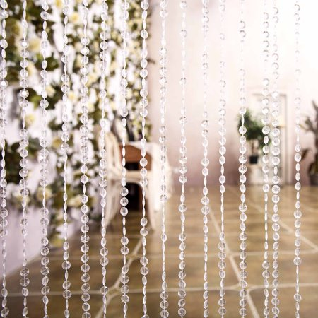 BalsaCircle Clear 8 ft long Acrylic Diamond Cut Beaded Door Curtain With Metal Rod Top - Wedding Party Stage Decorations Backdrops - Window Decoration