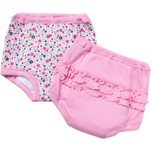 Gerber Toddler Girl Training Pants With Terry & Peva Lining, 2-Pack