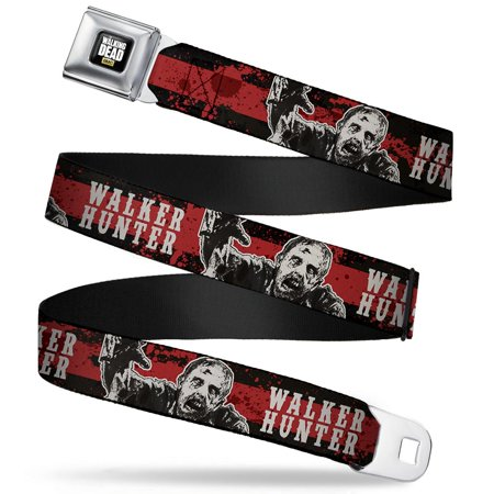 WALKER HUNTER Zombie Crawling Stripe Black/Blood Splatter/White Webbing - Seatbelt Belt Regular