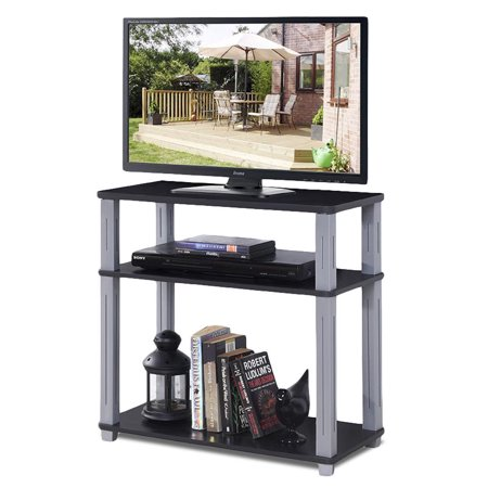 Gymax 3-Tier TV Media Stand Component Console Multipurpose Shelf Display Rack Black