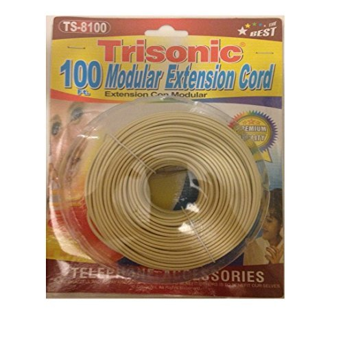 Trisonic Telephone Phone Extension Cord Cable Line Wire (100 Feet, Ivory)