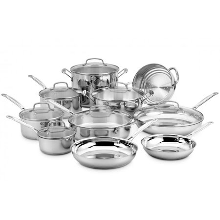 Cuisinart Chef's Classic Stainless Steel 17-Piece Cookware Set, Mirror Finish with Aluminum Base for Even Heating, Cool Grip Riveted Handles, Drip-Free Pouring and Flavor Lock Lids, Dishwasher Safe (Stainless Steel Flavor Bar)