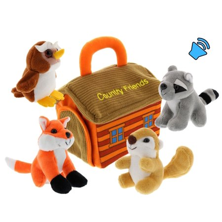 Plush Woodland Animals with Country House Carrier for Kids- 5pc- Talking Animal Interactive Toy Set- Stuffed Owl, Racoon, Fox & Squirrel (Colorful The Squirrel Owl Monkeys)