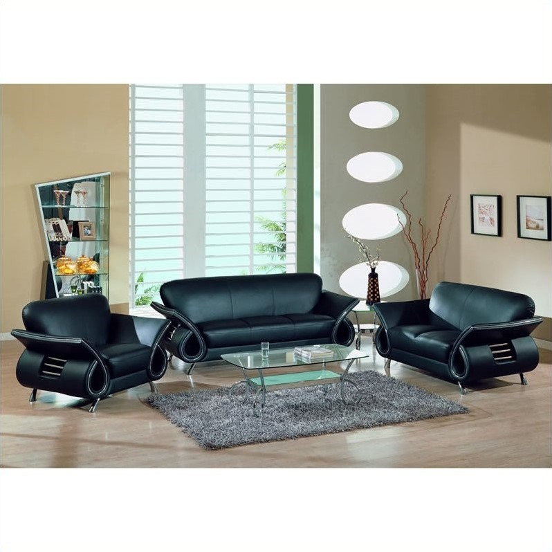 Global Furniture Usa Charles 3-Piece Leather Sofa Set in ...