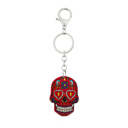 Lux Accessories Red Sugar Skull Rose Keychain Key Ring