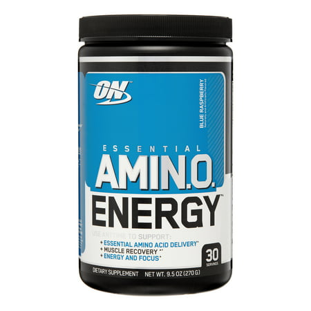 Optimum Nutrition Amino Energy Pre Workout + Essential Amino Acids Powder, Blue Raspberry, 30 Servings