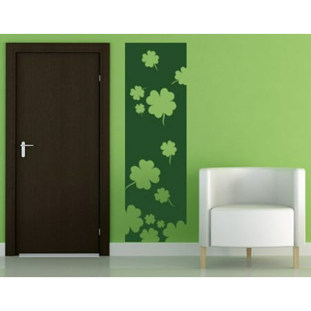 Silver Leaf Finish Wall - Lucky Four-leaf Clovers Decorative Strip Wall Decal - Wall Sticker, Vinyl Wall Art, Home Decor, Wall Mural - 2240 - 16in x 52in, White