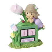 Precious Moments, Girl With Tulip Flower Perpetual Calendar Resin Figurine, 154431