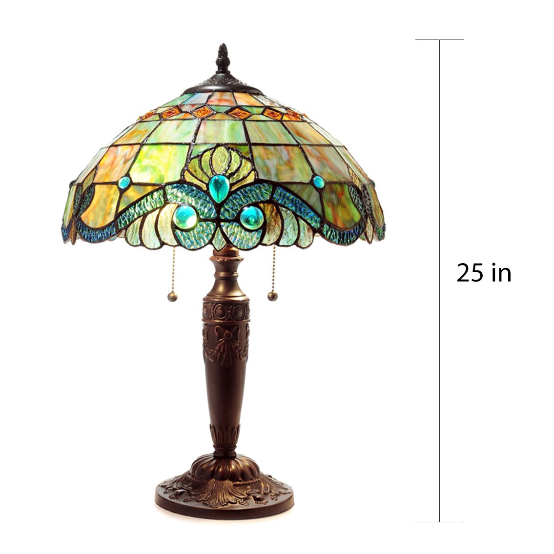 Serena D Italia Tiffany 2 Light Pearl Vintage 25 In Table Lamp