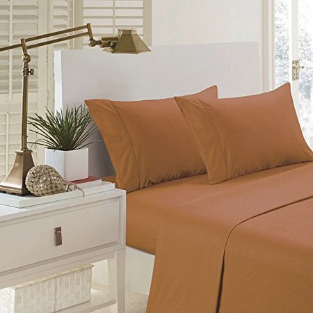 Pentagon Collection 1800 Series Wrinkle Resistant Embossed Sheet Set (Twin, Sand