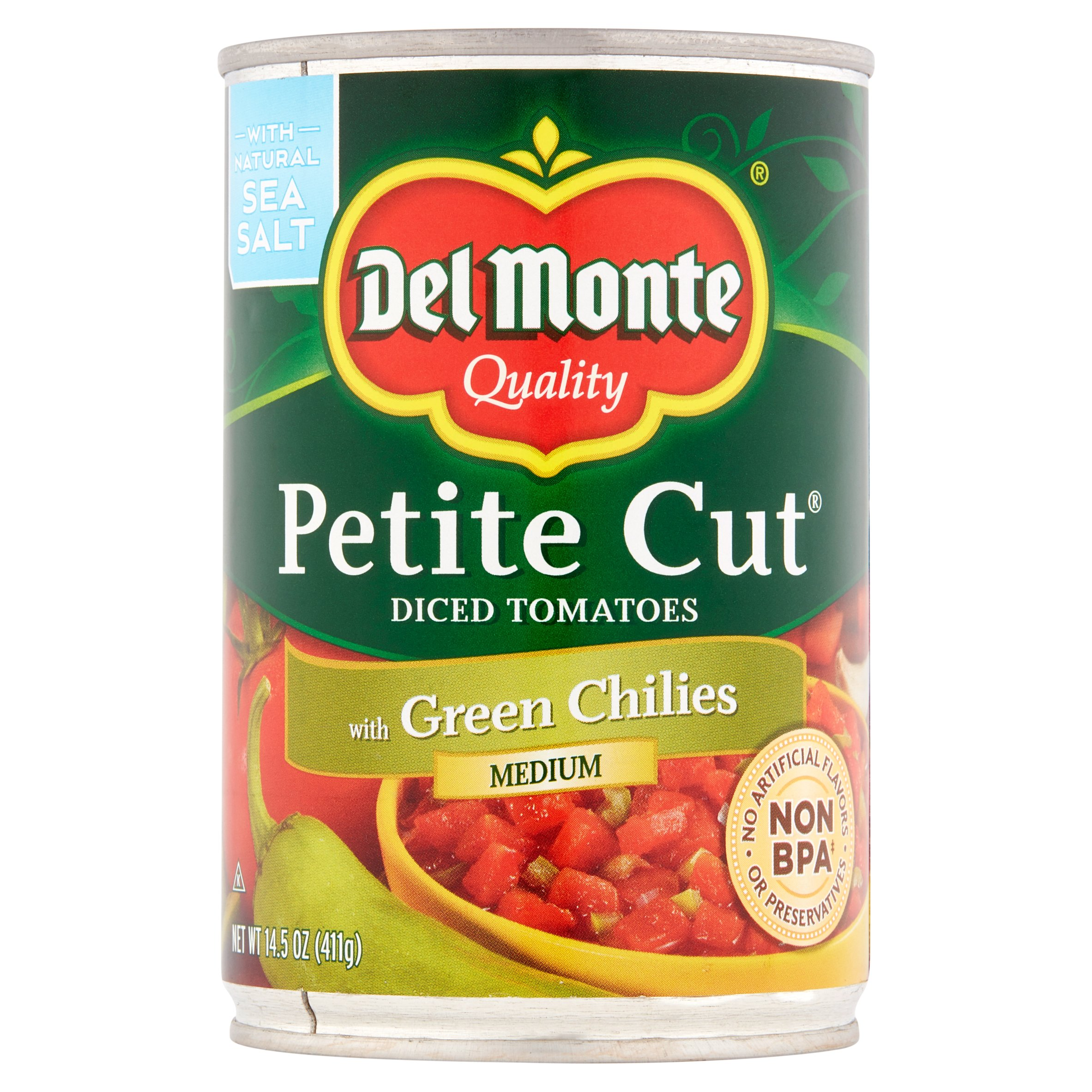 Del Monte Petite Cut Medium Diced Tomatoes with Green Chilies, 14.5 oz