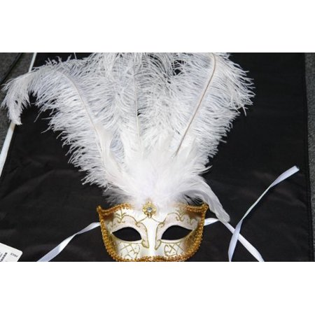Venetian Style Mask With White Feather In White   Gold Pattern  Fancy Venetian Style Eye Mask With Feather Plume Detail By H M Shop