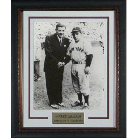 (Athlon CTBL-r18757 Babe Ruth Unsigned New York Yankees Vintage B&W Photo Custom Framed V Groove Matting with Yogi Berra - 11 x 14)