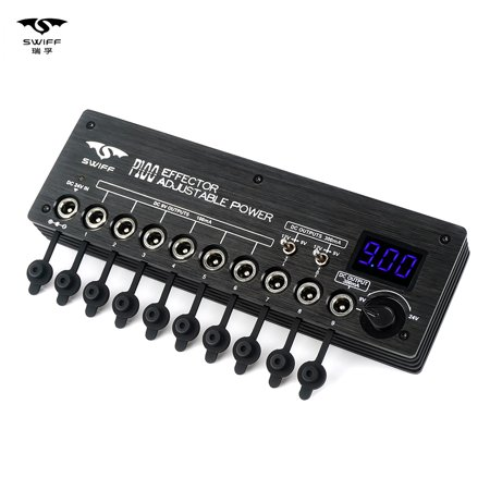 SWIFF Mini Guitar Effect Power Supply Station 9 Isolated DC Outputs 9V 12V  Adjustable Voltage 9-24V for Guitar Effects with Power Cables Power Adapter