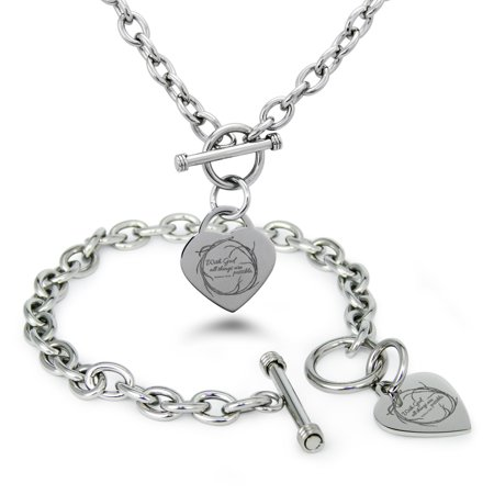 Stainless Steel With God All Things Are Possible Matthew 19:26 Heart Charm Toggle Bracelet & Necklace