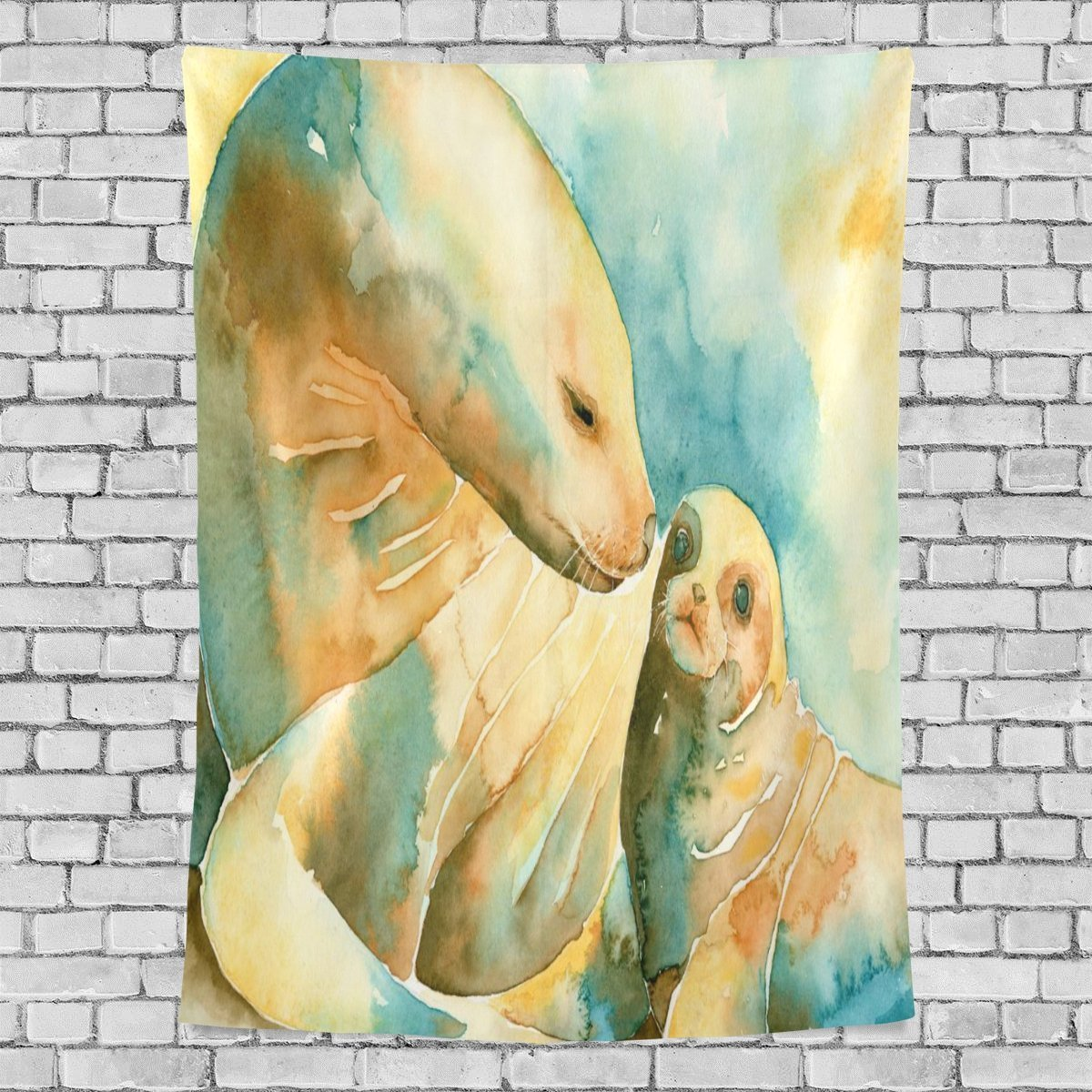 POPCreation Oil Painting Sea Lions Home Decoration Wall Tapestry 60x51 inches