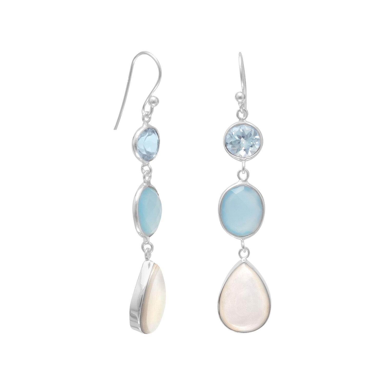 Blue Multistone Sterling Silver Drop Earrings by