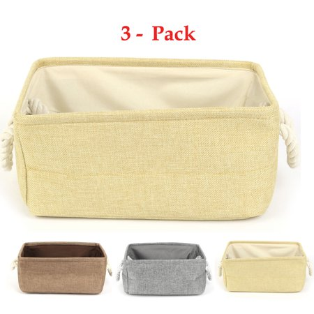 Home Fabric Rectangular Storage Basket Bin Organizer with Handle - Rectangular Storage Baskets
