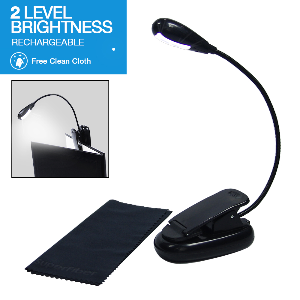 eTopLighting Clip-On LED Book Light with Adjustable Gooseneck, Rechargeable Battery, Computer Keyboard Reading Desk... by Loadstone Studio