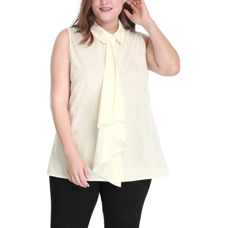 Women's Plus Size Blouses Placket Ruffle Fashion Sleeveless Shirt Tops Blouse
