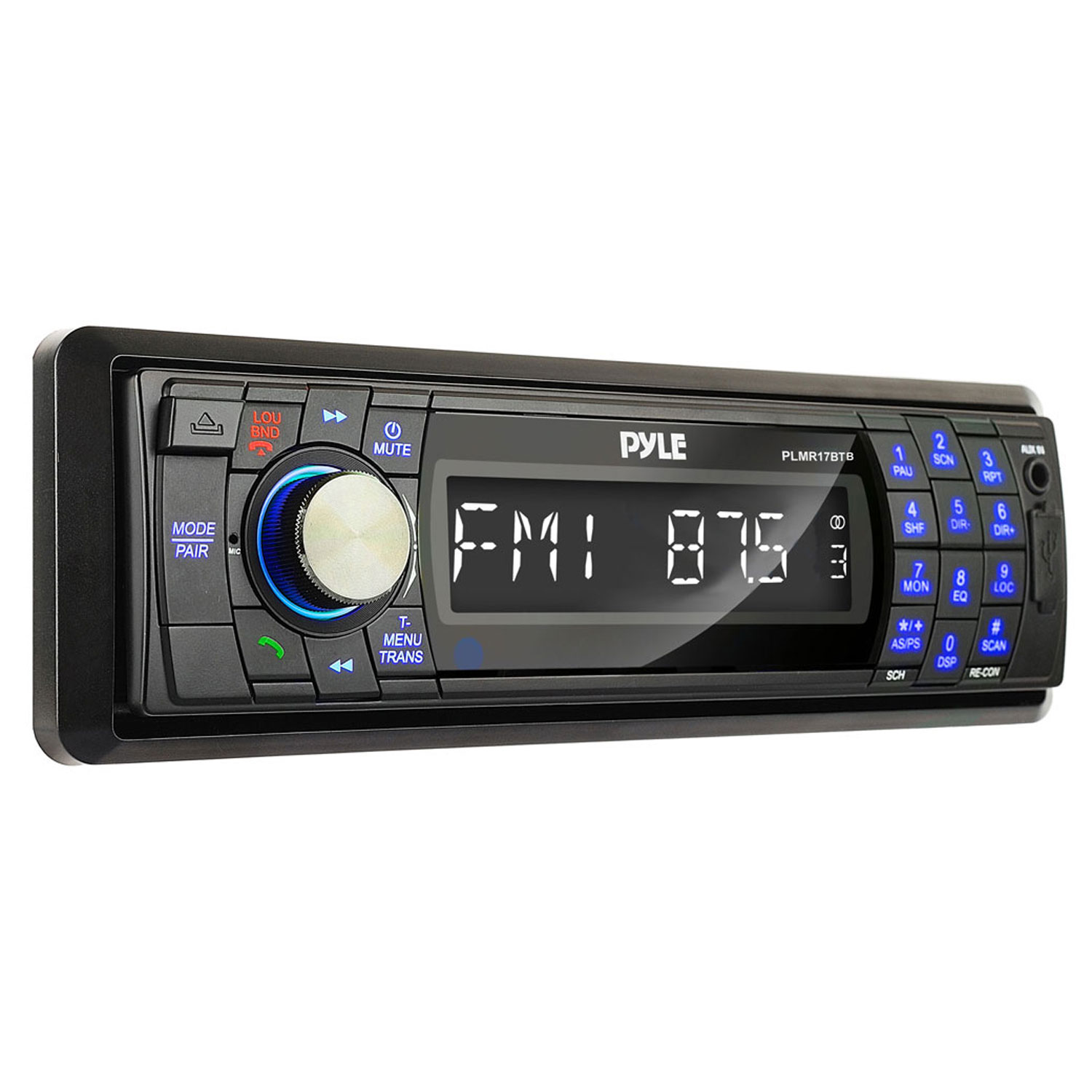 PYLE PLMR17BTB - Bluetooth Marine Stereo Radio - Waterproof/Weather proof Single DIN 12v Boat Receiver with Digital LCD, RCA, MP3 / USB Reader, AM FM Radio - Wiring Harness, Remote Control - (Black)