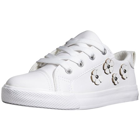 Sara Z Girls Toddler/Little Kid Low Top Lace Up Casual Everyday Sneakers With Flowers Size 11/12 White (Keds White Sneakers)