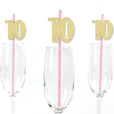 Gold Glitter 10 Party Straws - No-Mess Real Gold Glitter Cut-Out Numbers & Decorative 10th Birthday Paper Straws - 24 Ct