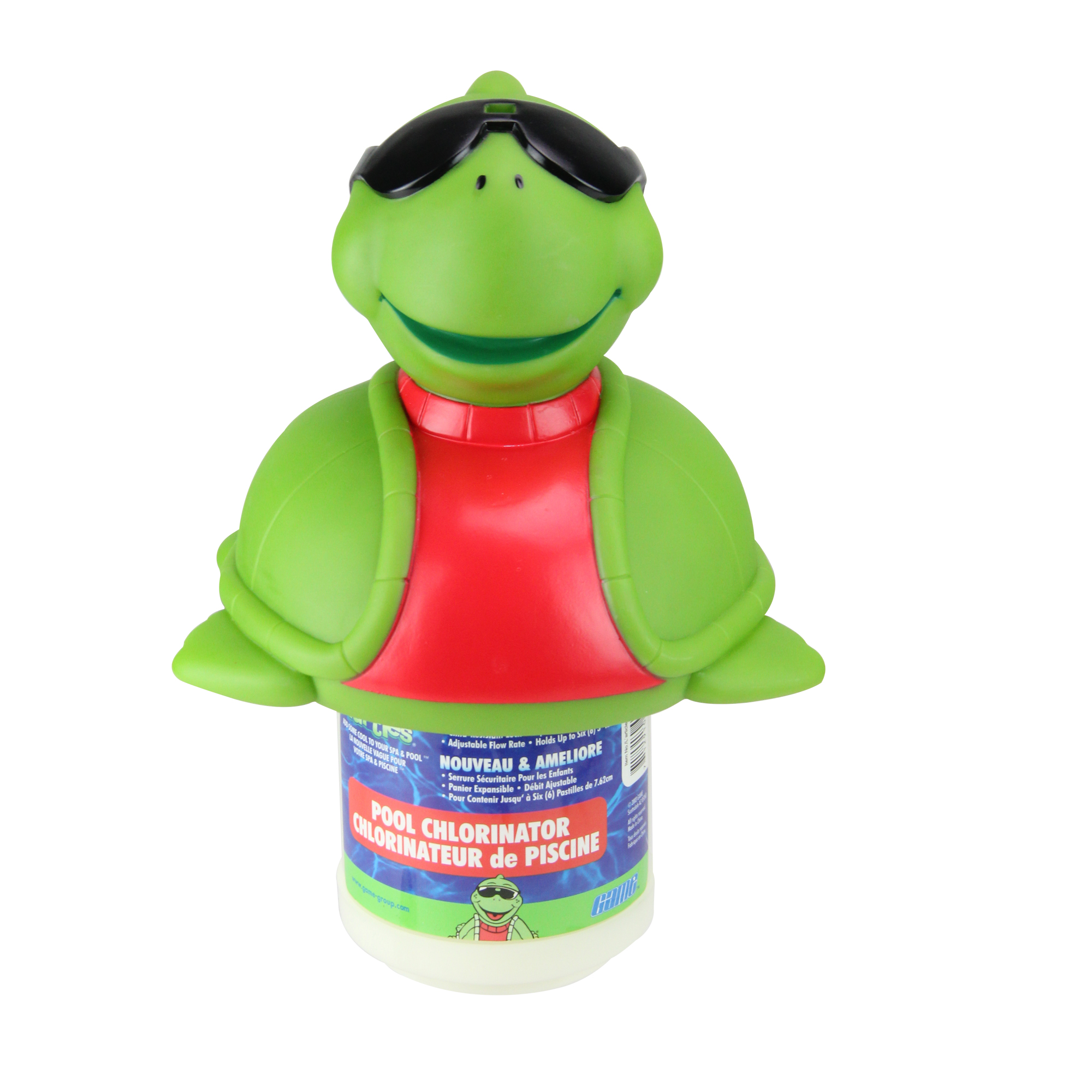"""11.5"""" Turtle with Sunglasses Floating Swimming Pool Chlorine Dispenser"""