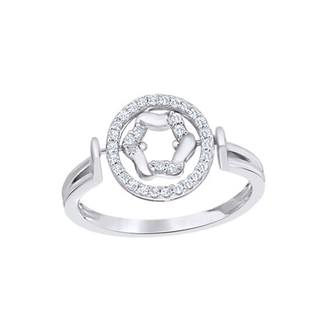 Round Cut White Natural Diamond Movable Circle Ring in 10k White Gold (0.2 -