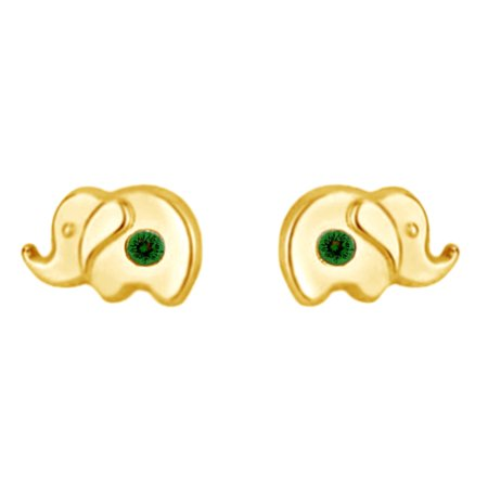 Girls Emerald Green - Round Shape Simulated Green Emerald Little Girls Elephant Stud Earrings 14K Yellow Gold Over Sterling Silver
