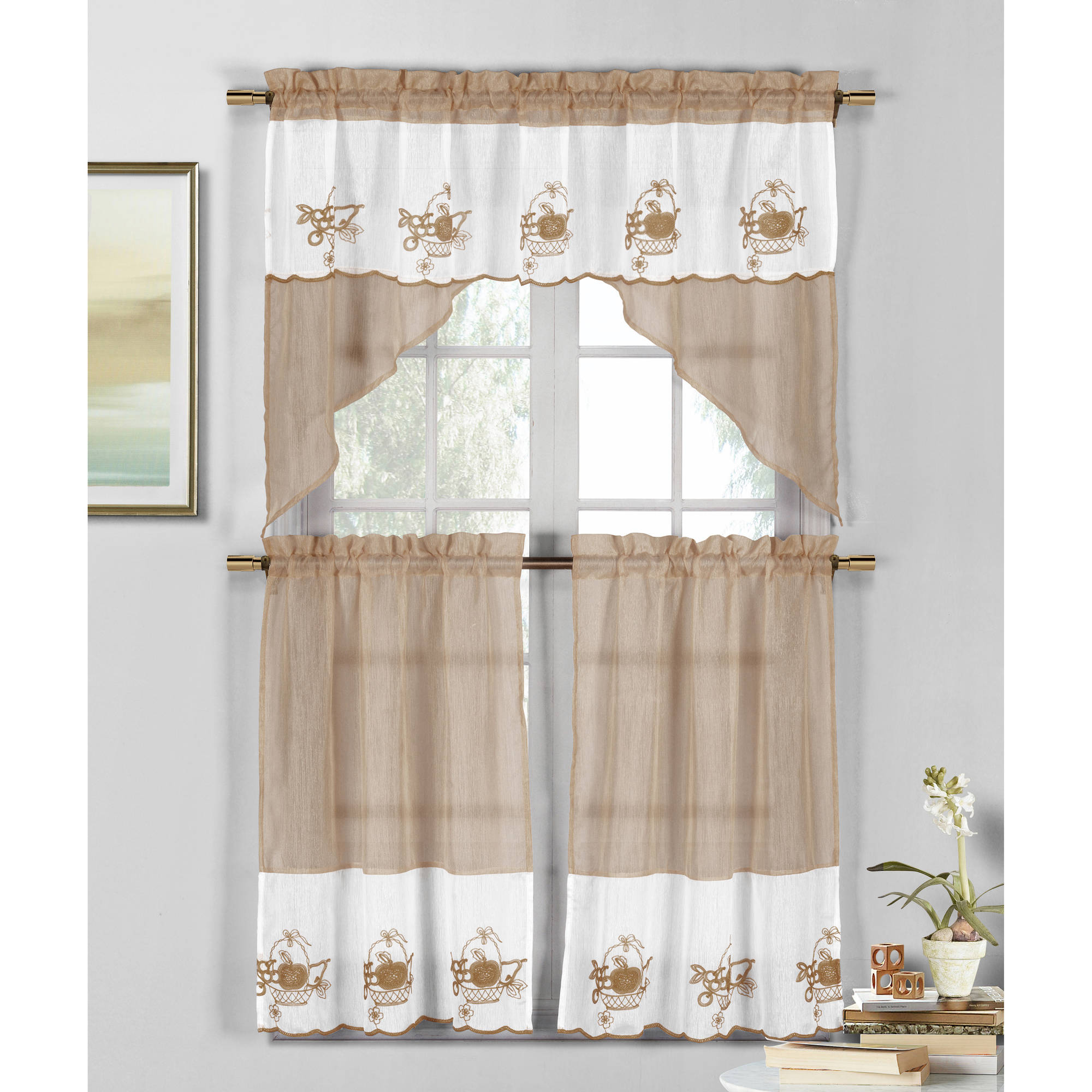 Jade Apple Pear Grape Emb Kitchen Curtain Set Walmart Com Walmart Com