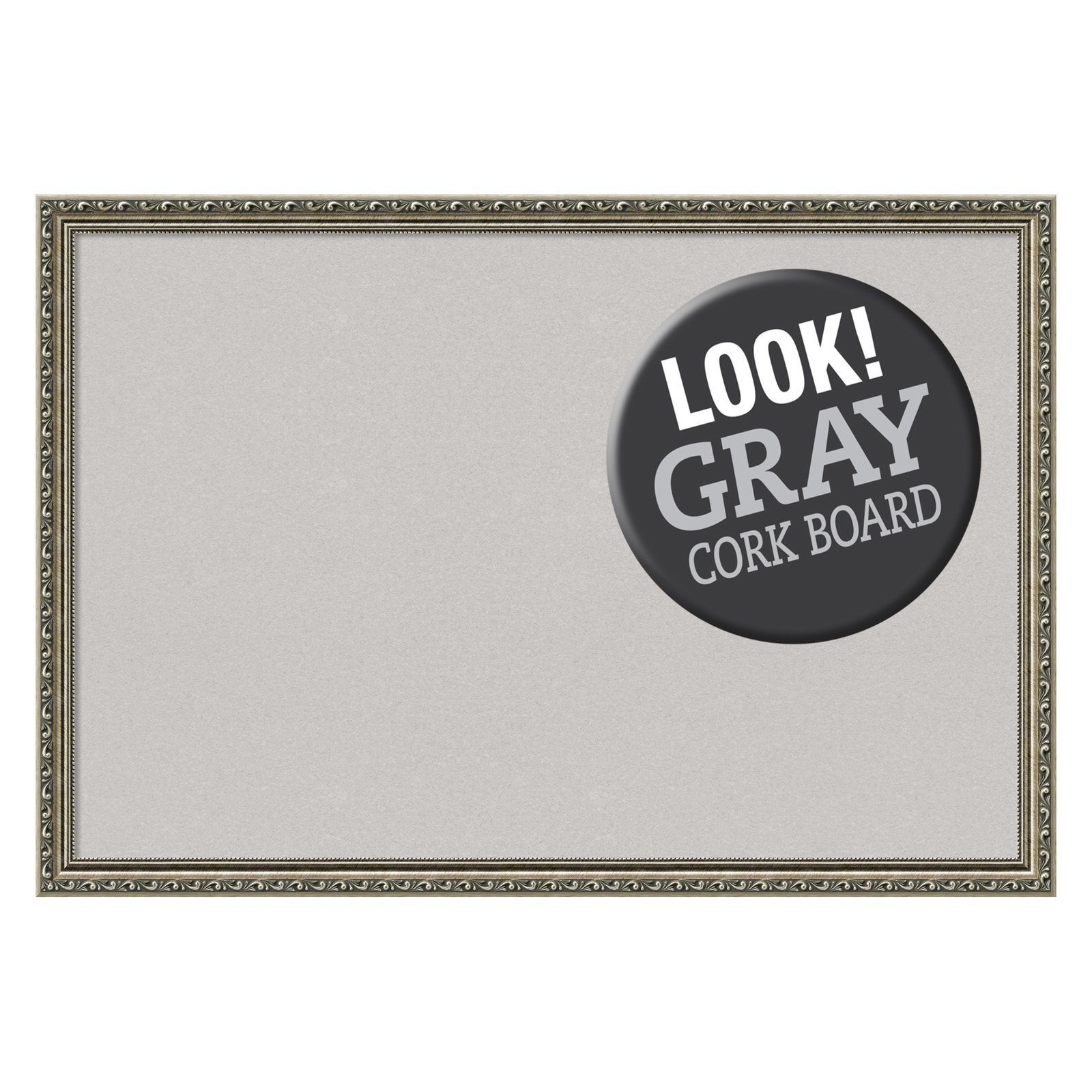 Amanti Art Parisian Silver Framed Cork Board