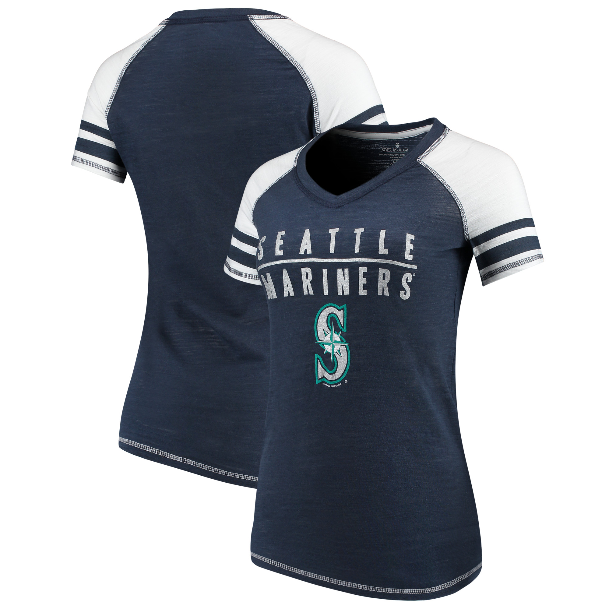 Seattle Mariners Soft as a Grape Women's Color Block V-Neck T-Shirt - Navy