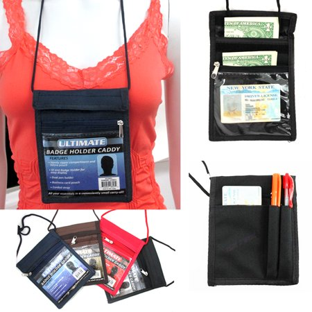 Badge Holder Caddy Neck Pouch Holder Passport ID Travel Neck Wallet Colors New !