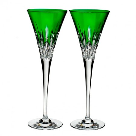 Waterford Lismore Pops Emerald Toasting Flute, Pair - 40019533