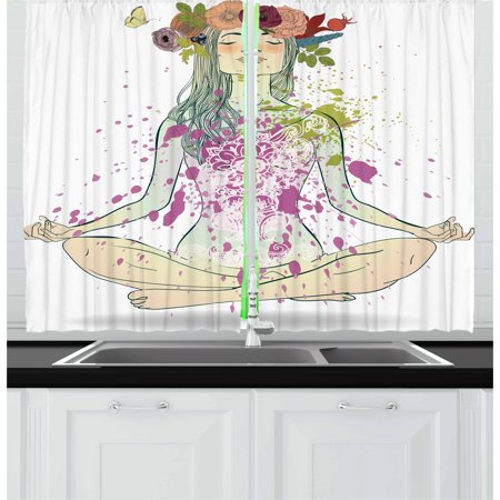Yoga Curtains 2 Panels Set, Girl with Floral Wreath Sitting in Lotus Pose Color Splashes Levitation Meditation, Window Drapes for Living Room Bedroom, 55W X 39L Inches, Multicolor, by Ambesonne