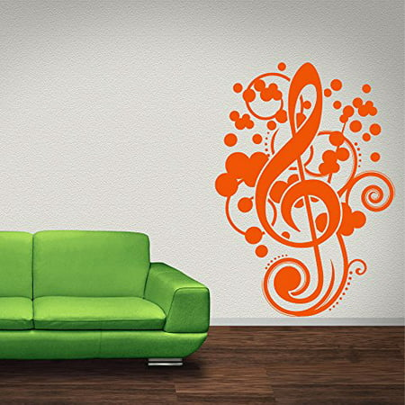 Treble Clef Wall Decal - Musical Notes Wall Sticker, Music Staff ...