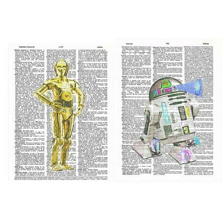 Art N Wordz Star Wars C3PO and R2D2 Robots Set of 2 Original Dictionary Sheet Pop Art Wall or Desk Art Print - C3po R2d2