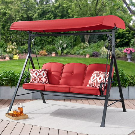 Mainstays Carson Creek Outdoor 3-Seat Porch Swing with Canopy, Red String Swing Metal