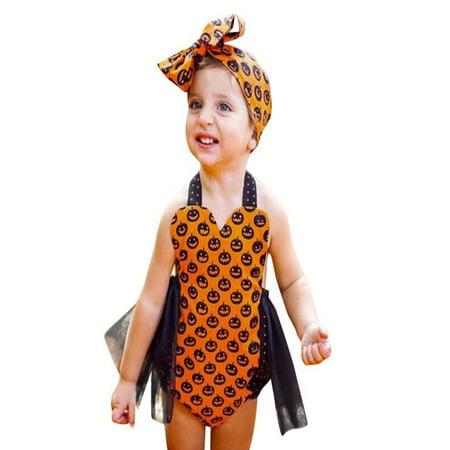 Mosunx Toddler Kids Baby Pumpkin Girls Halloween Outfits Clothes Romper Jumpsuit - Baby Pumpkin Halloween Outfits