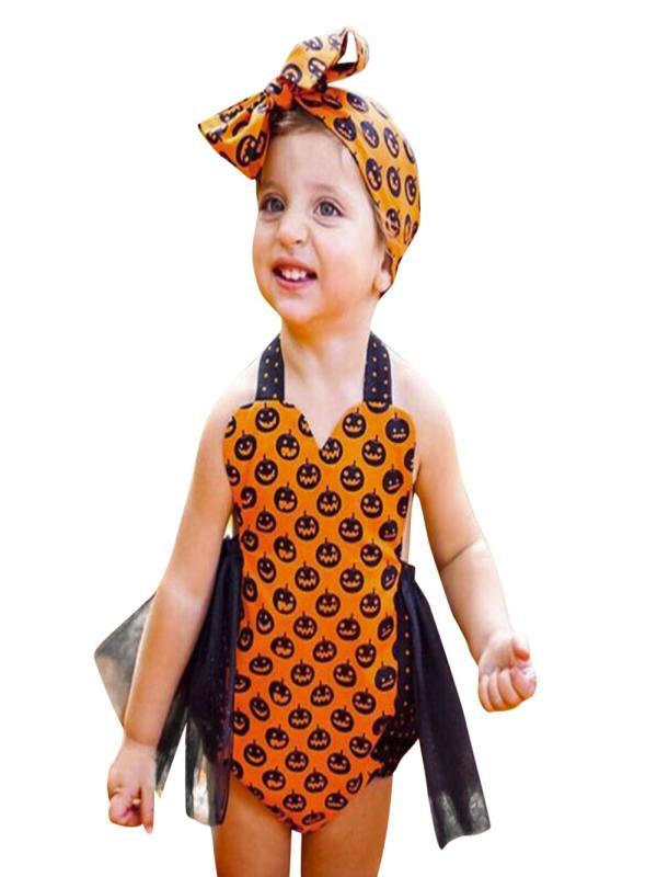 Mosunx Toddler Kids Baby Pumpkin Girls Halloween Outfits Clothes Romper Jumpsuit
