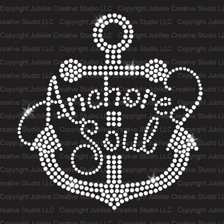 Anchored Soul Iron On Rhinestone Crystal Tshirt Transfer by JCS - Disney Halloween Rhinestone Iron On Transfers
