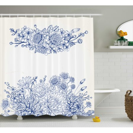 Blue Shower Curtain, Artistic Floral Bouquet Corsage Carnations Chamomiles Bridal Wedding Anniversary Theme, Fabric Bathroom Set with Hooks, Blue White, by Ambesonne](Wine Themed Bridal Shower)