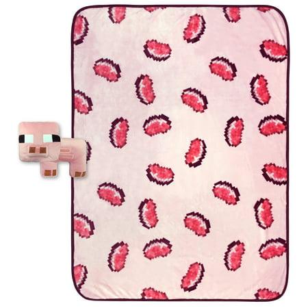 MineCraft Small Pig Shaped Pillow and Pork Chop Throw Set ()