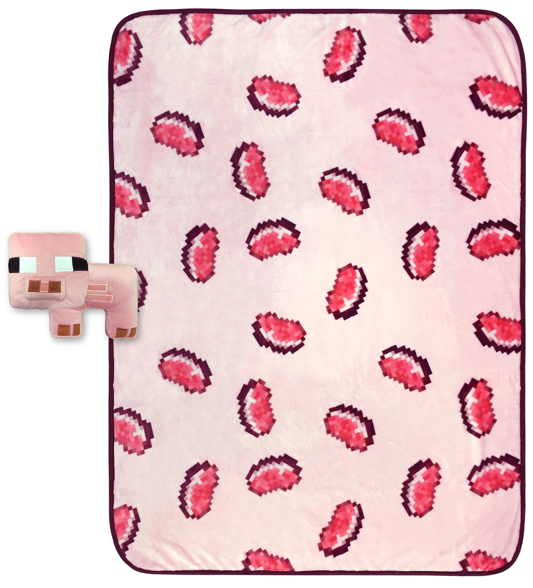 MineCraft Small Pig Shaped Pillow and Pork Chop Throw Set