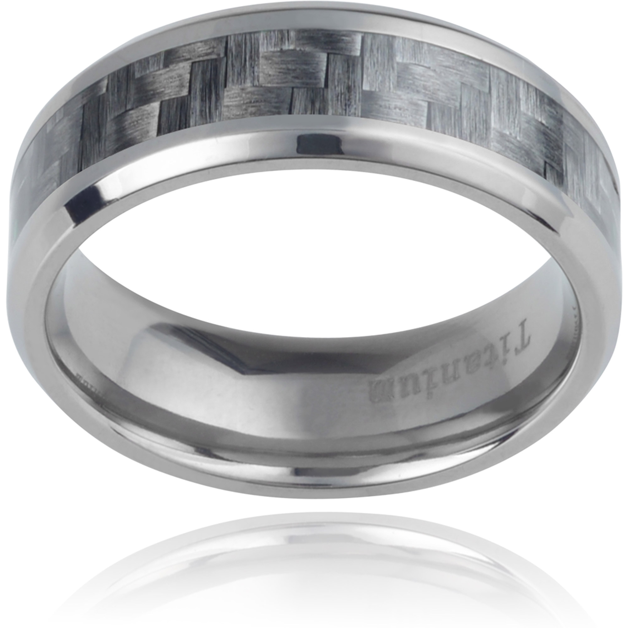 Daxx Men's Titanium Carbon Fiber Inlay Fashion Ring, Grey