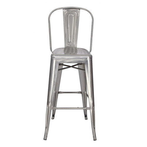 Adeco Gunmetal Silver Stacking Metal Bar Stools With